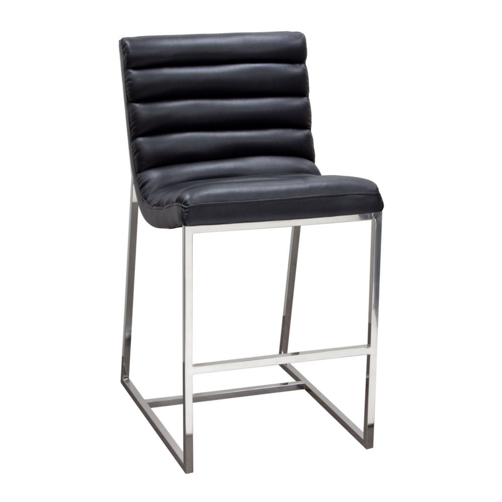 Bardot Counter Height Chair w/ Stainless Steel Frame – Black