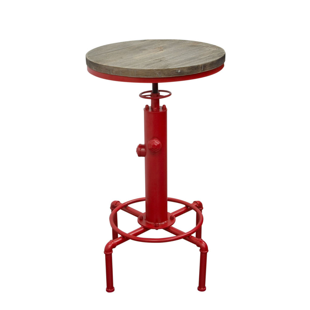 """Brooklyn Adjustable Height Bistro Table with Weathered Grey Top and Red Powder Coat """"Hydrant"""" Base"""