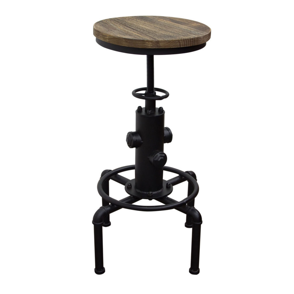 "Brooklyn Adjustable Height Stool with Weathered Grey Top and Black Powder Coat ""Hydrant"" Base"