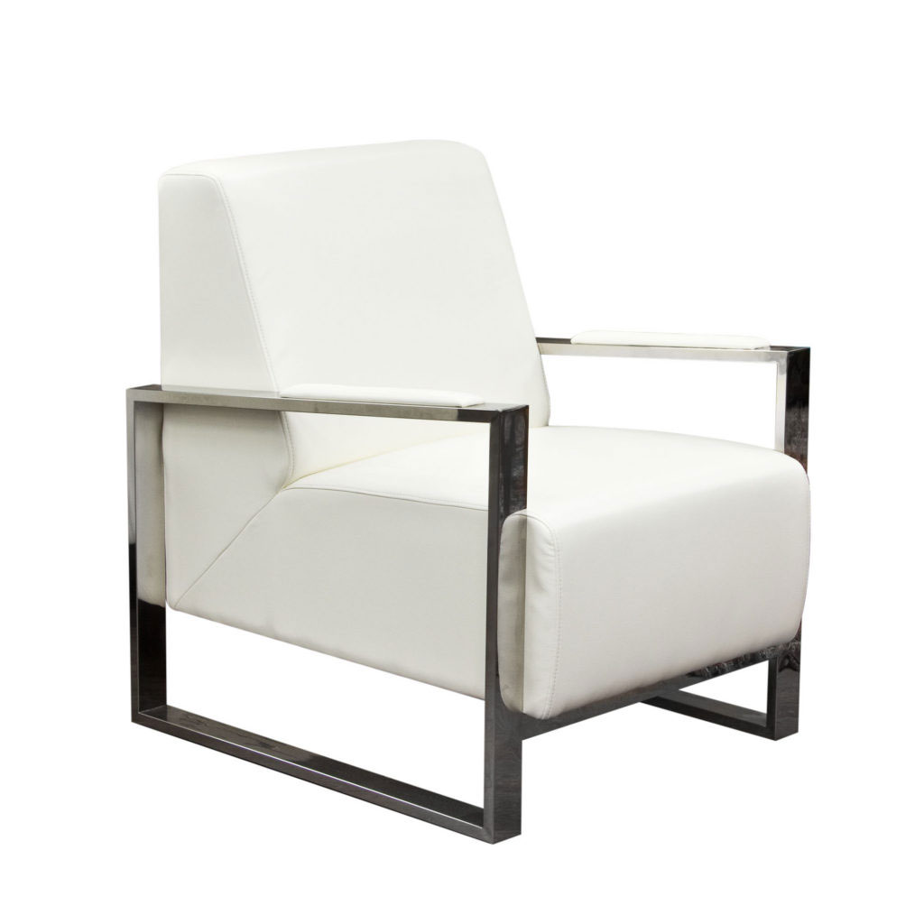 Century Accent Chair w/ Stainless Steel Frame – White