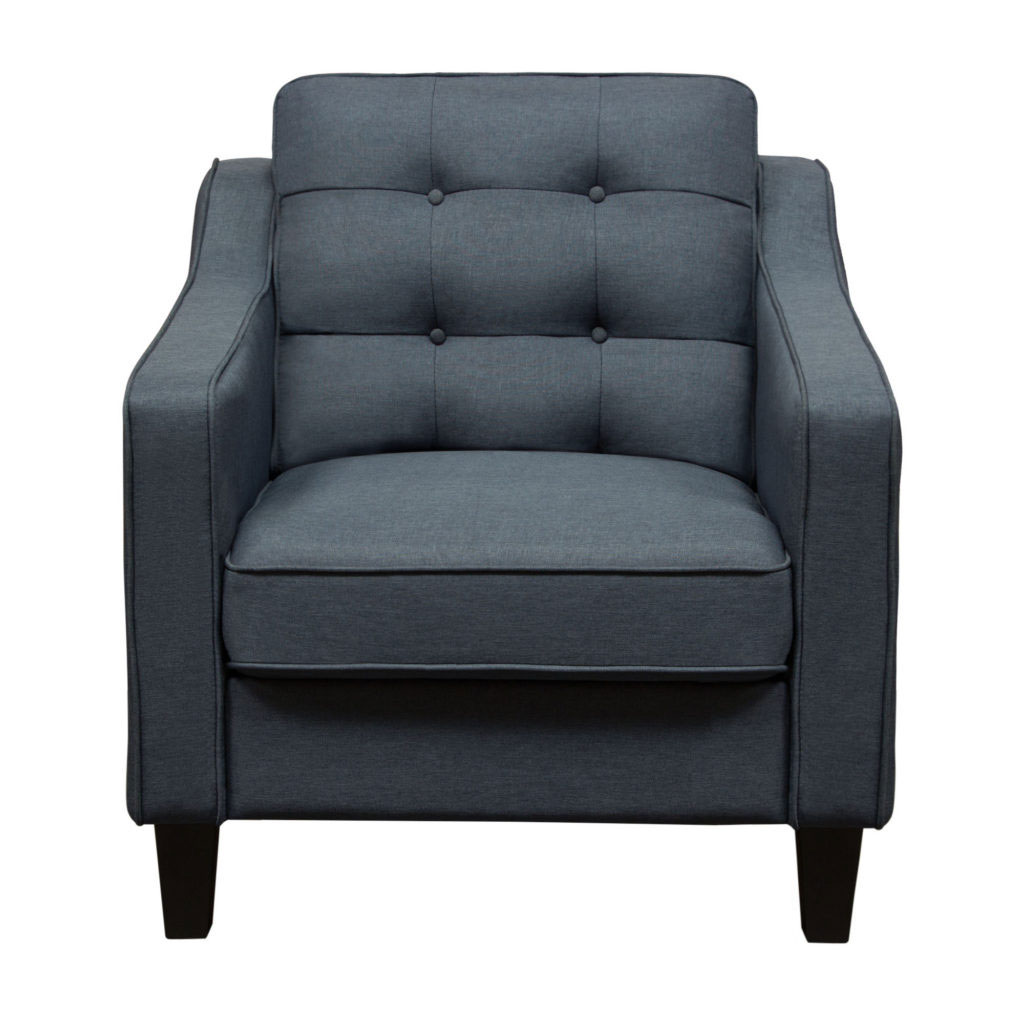 Lucas Chair in Blue Fabric with Tufted Back & Wood Leg
