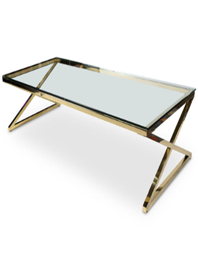 Mesa de centro rectangular Stacy color oro