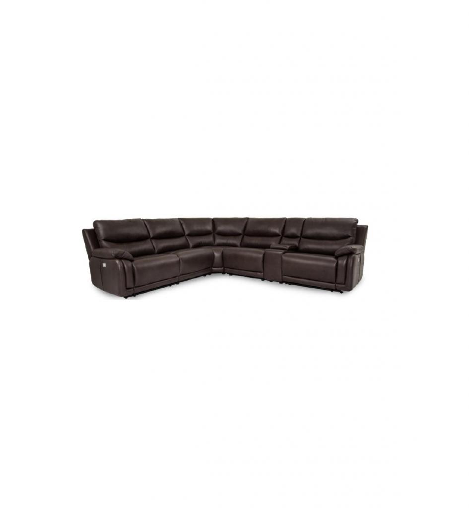 Seccional contemporaneo piel chocolate con reclinable 6 pzas
