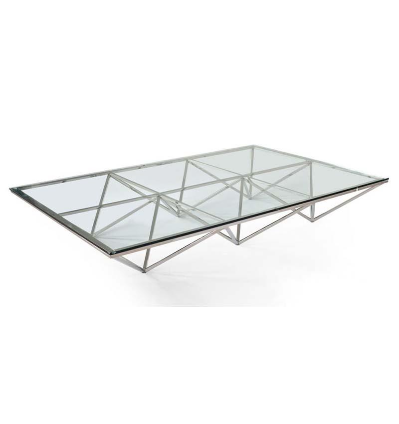 Mesa de centro rectangular Nest XL cromo y vidrio