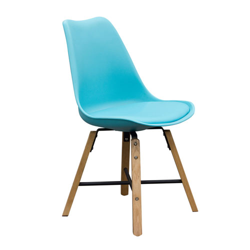 2-Pack Retro Inspired Dining Chairs with Solid Oak Frame – Turquoise (Mínimo de compra 2 piezas)
