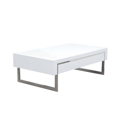 Cosmo White Lacquer Table with Dual Storage Drawer & Metal Leg