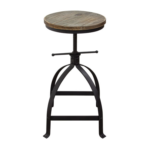 Set of (2) Davis Vintage Adjustable Height Stools with Weathered Grey Seat and Black Powder Coat Steel Base