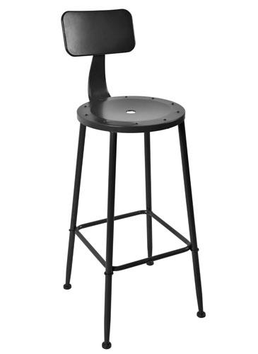 Set of (2) Douglas Vintage Bar Height Chairs in Black Powder Coat Steel
