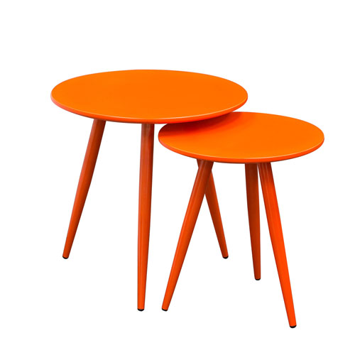 DUO 2PC Nesting Tables in High Gloss Orange Tops & Legs