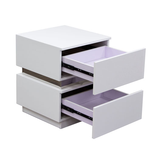 Elle 2-Drawer Accent Table in High Gloss White
