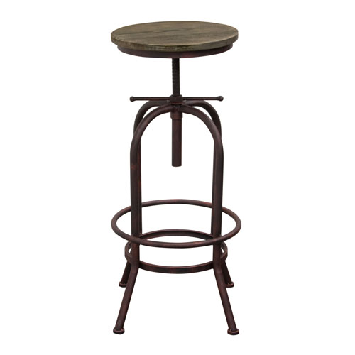 Set of (2) Fairfax Adjustable Height Stool with Weathered Brown Seat and Rust Black Iron Base