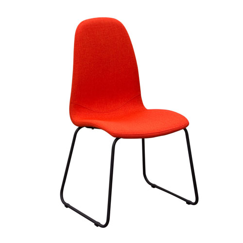 Set of (2) Finn Dining Chairs in Coral Fabric with Metal Leg