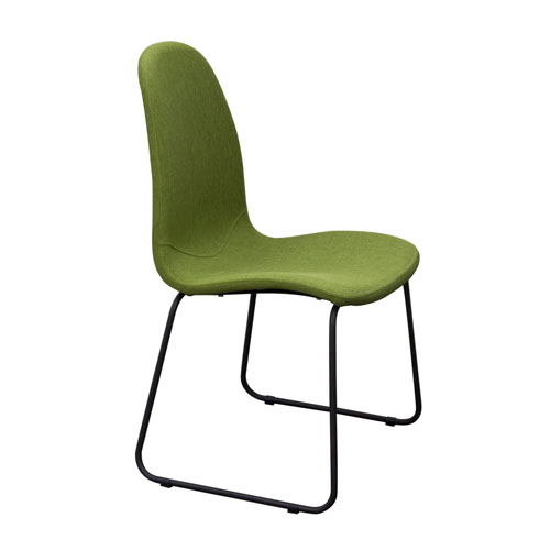 Set of (2) Finn Dining Chairs in Green Fabric with Metal Leg
