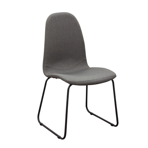 Set of (2) Finn Dining Chairs in Grey Fabric with Metal Leg