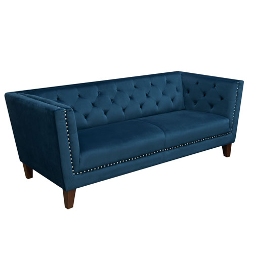 Grand Tufted Back Sofa with Nail Head Accent in Blue Velvet