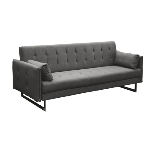Hampton Convertible Tufted Sofa with Metal Leg in Graphite Fabric