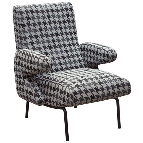 Harper Accent Chair in Black & White Hounds Tooth Fabric with Black Powder Coated Leg