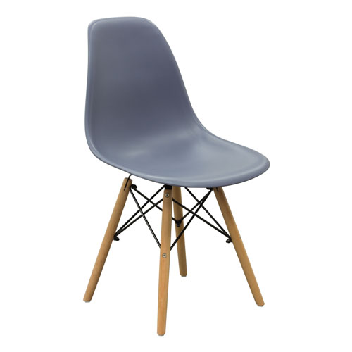 Set of (2) Ion Dining Chairs with Molded Grey Plastic Seat with Wood Legs and Metal Supports