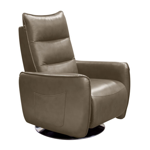 Keaton Push-Back Reclining Accent Chair in Taupe Air Leather