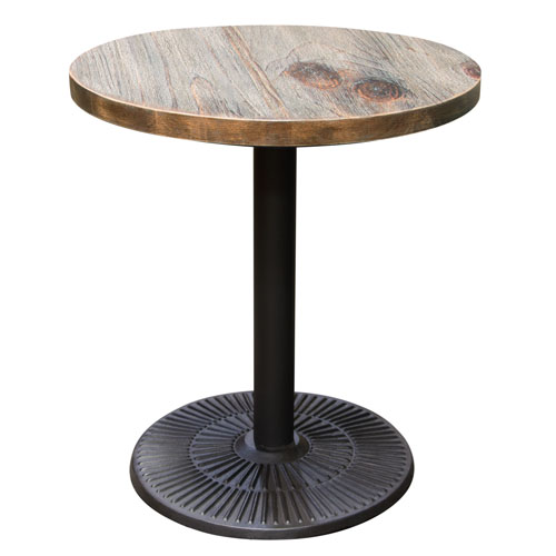 Lincoln Vintage 28″ Round Bistro Table with Weathered Grey Top and Black Powder Coat Base