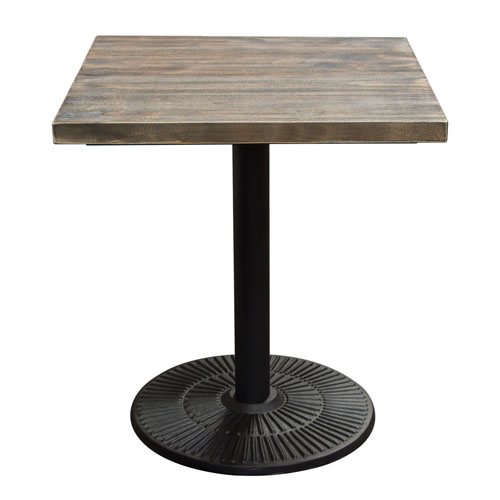 Lincoln Vintage 28″ Square Bistro Table with Weathered Grey Top and Black Powder Coat Base