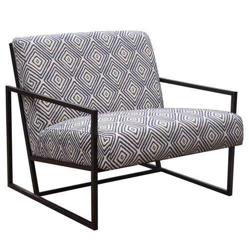 Luxe Accent Chair in Black & White Geo Pattern Fabric with Black Powder Coat Frame