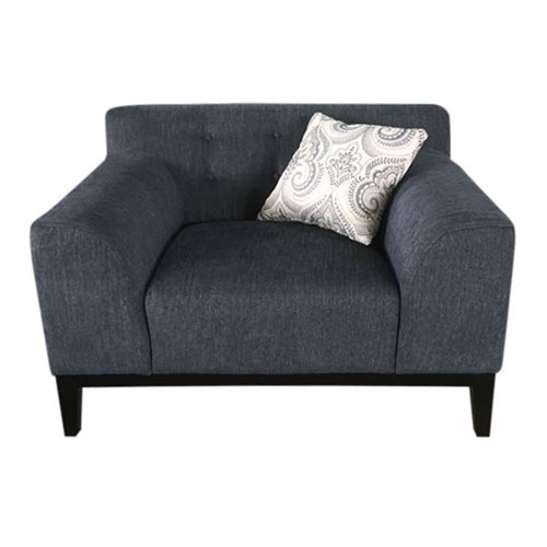 Marquee Tufted Back Chair in Panama Blue Fabric with Accent Pillows