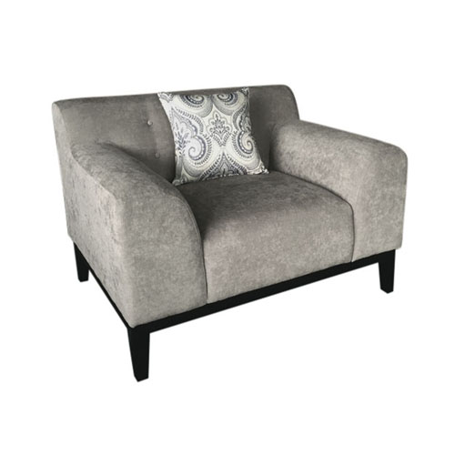 Marquee Tufted Back Chair in Moonstone Fabric with Accent Pillows