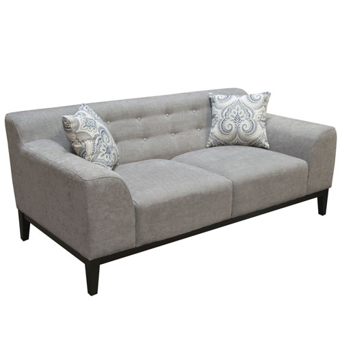 Marquee Tufted Back Loveseat in Moonstone Fabric with Accent Pillows
