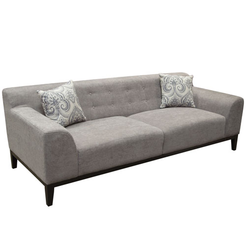 Marquee Tufted Back Sofa in Moonstone Fabric with Accent Pillows