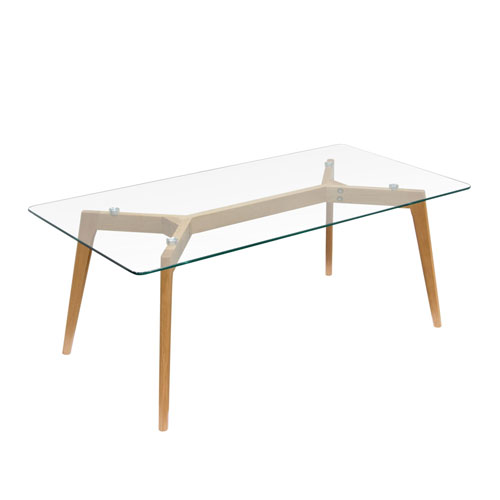 Monarch Rectangle Cocktail Table w/ Oak Legs & Clear, Tempered Glass Top