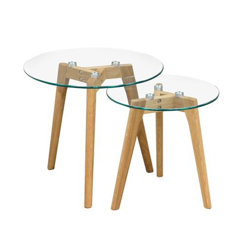 Monarch Round 2PC Nesting Tables w/ Oak Legs & Clear, Tempered Glass Top
