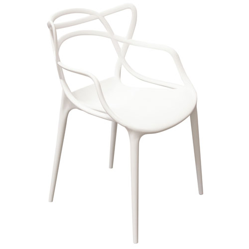 Newton 4-Pack Indoor/Outdoor Accent Chairs in White Polypropylene (Mínimo de compra 4 piezas)