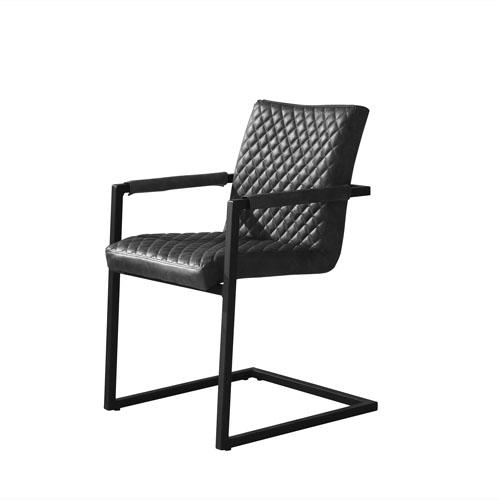 Nolan 2-Pack Dining Chairs in Black Diamond Tufted Leatherette on Black Powder Coat Frame (Mínimo de compra 2 piezas)