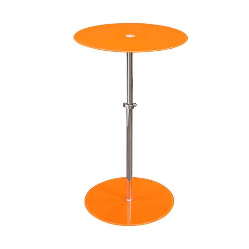 Orbit Adjustable Height Glass Accent Table – ORANGE