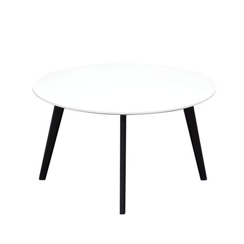 Ozone Round Cocktail Table w/ White Top & Black Legs