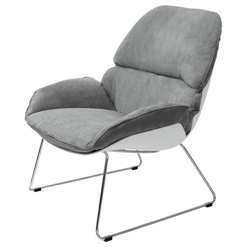 Relaxa Accent Chair in Grey Fabric with White Polypropylene (PP) Shell and Chrome Frame