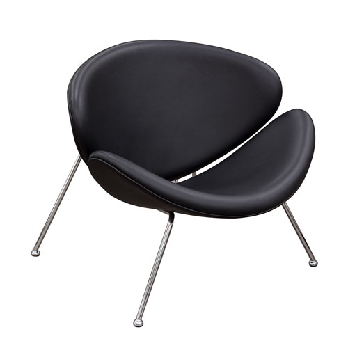 Set of (2) Roxy Black Accent Chair with Chrome Frame