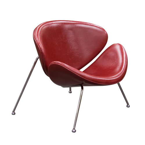 Set of (2) Roxy Vintage Red Accent Chair with Chrome Frame