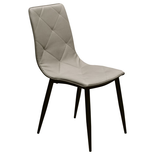 Sigma 2-Pack Dining Chair in Taupe Diamond Tuft Leatherette with Powder Coat Black Metal Legs (Mínimo de compra 2 piezas)