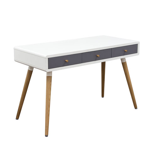 Two-Tone Retro 3-Drawer Desk Table