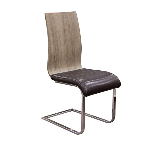 Set of (2) Summit Spring Back Dining Chairs in Ash Back with Chocolate Ribbed Seat Cushion