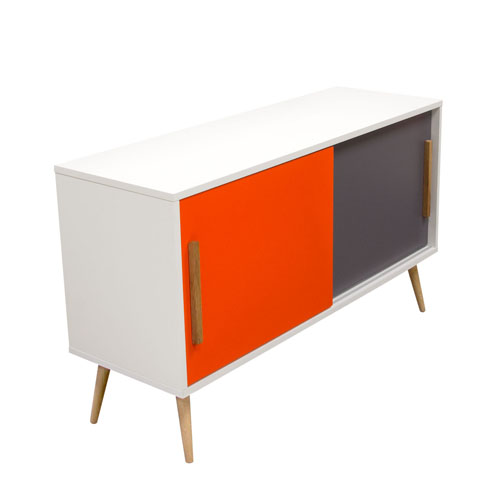 Tangent Tri-Color Storage Cabinet with Oak Legs