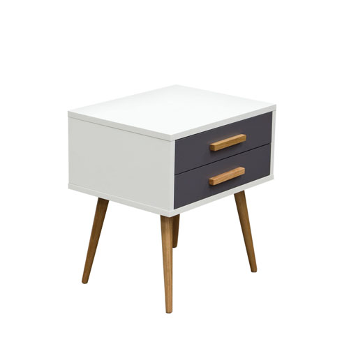 Tangent 2-Drawer Accent Table w/ White Top, Grey Drawers & Oak Legs