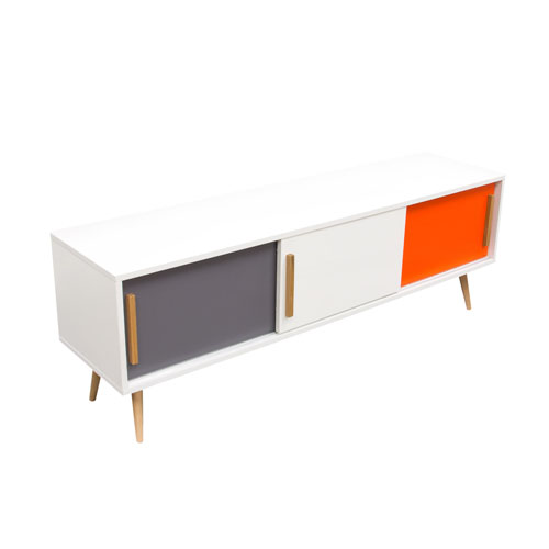 Tangent Tri-Color 3-Door Entertainment Cabinet with Oak Legs