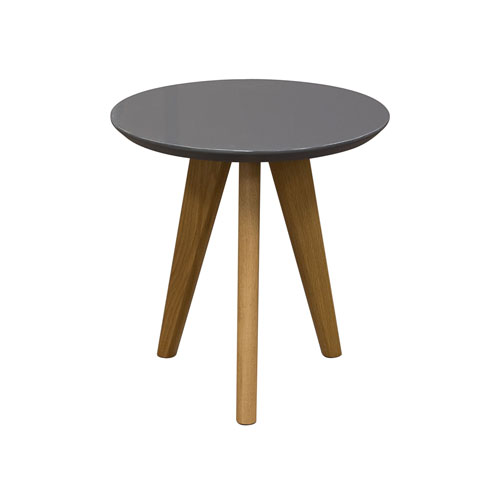 Retro End Table with Gloss Finished Top & Solid Oak Legs