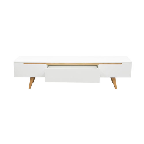 Vision Low Profile Entertainment Cabinet in White with Oak Legs