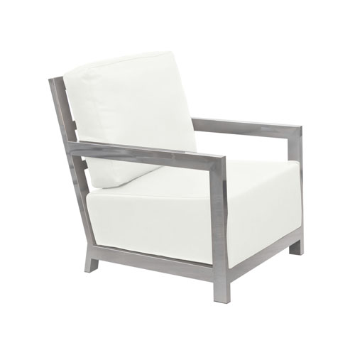 Zen Accent Chair w/ Stainless Steel Frame – White