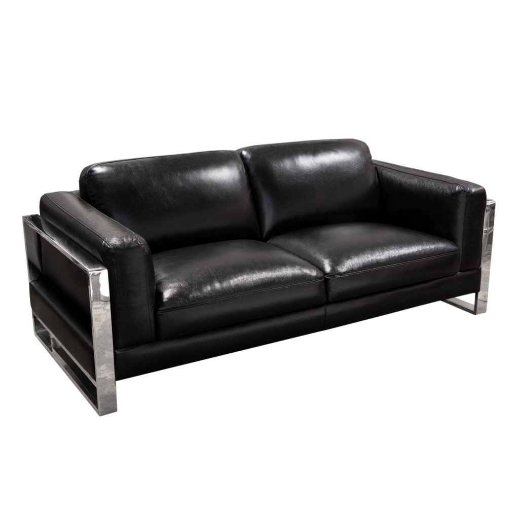 Annika Sofa in Black Air Leather with Polished Stainless Steel Arm