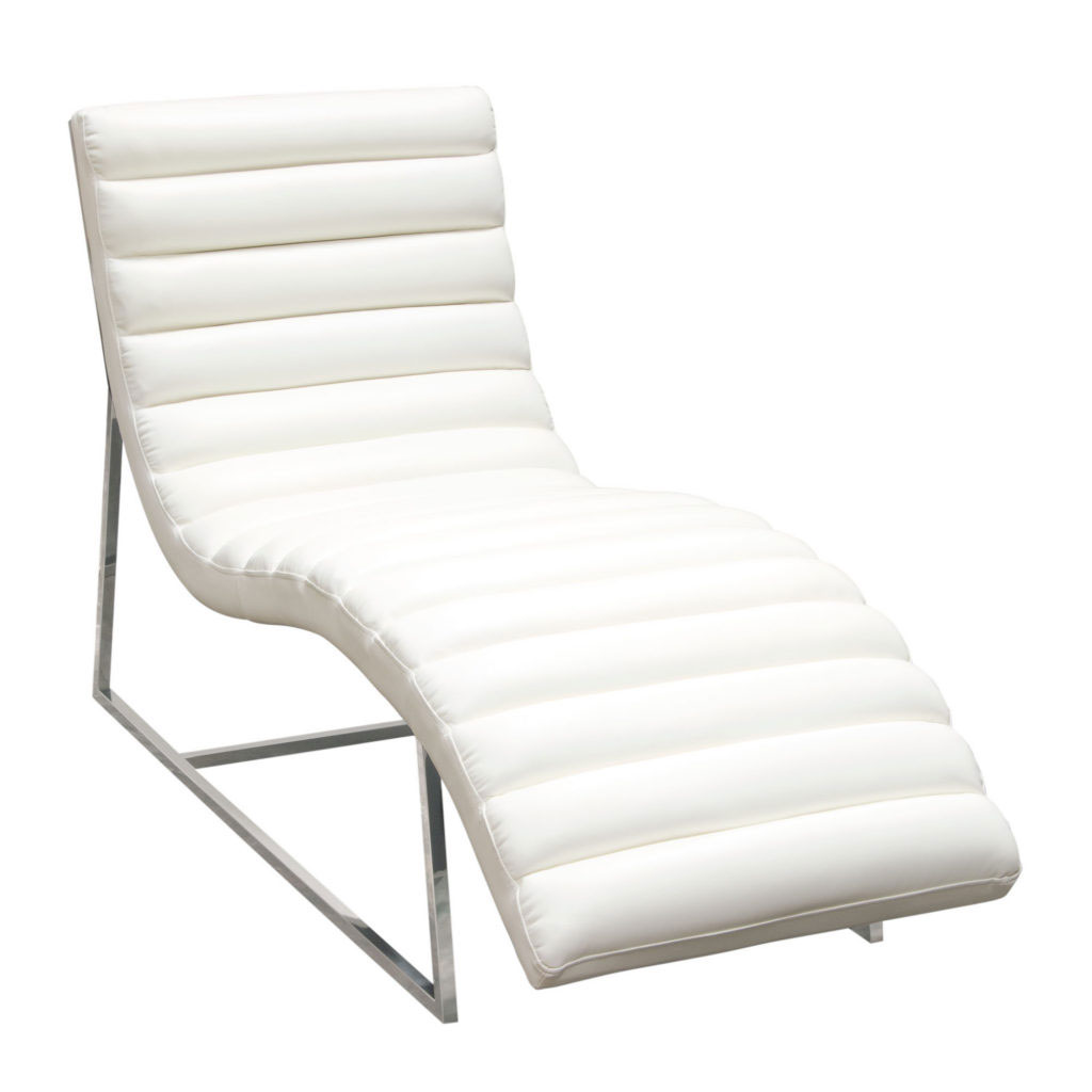 Bardot Chaise Lounge w/ Stainless Steel Frame – White